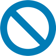 A blue prohibition sign