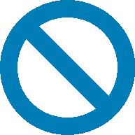 A blue prohibition sign