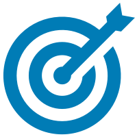 A blue arrow in a blue target