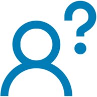 blue outline of person with question mark